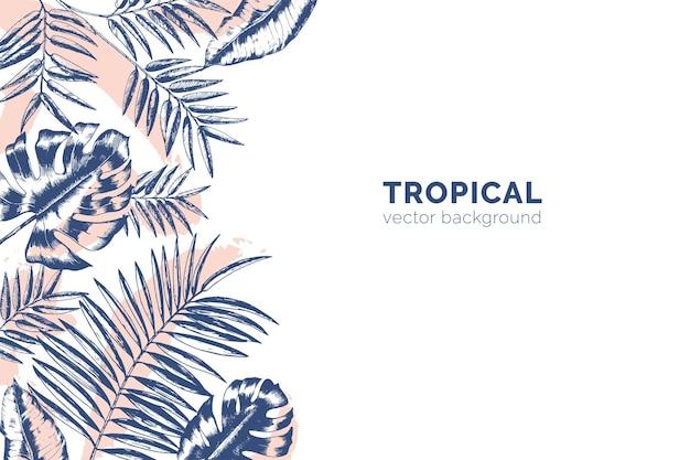 Horizontaler hintergrund mit tropischen palmenzweigen und monstera-blättern