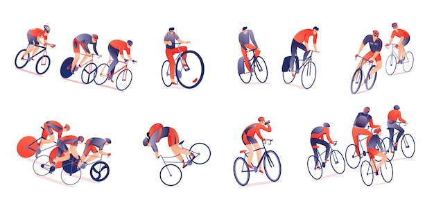 Horizontaler satz der radreise radfahrer mit sportausrüstung in den verschiedenen positionen lokalisiert