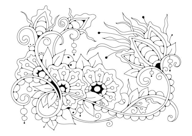 Horizontaler schwarzweiss-hintergrund zum färben. malvorlage mit fantasieblumen. schwarzweiss-illustration.
