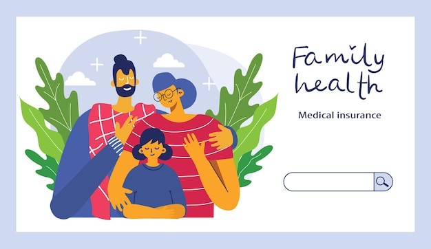 Horizontaler versicherungssatz der versicherung mit isolierten eigentums- und familiengesundheitssymbolen