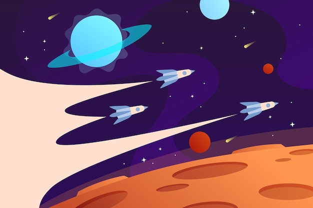 Horizontaler weltraumhintergrund mit fliegenden raumschiffen und planeten rocket race web space erkunden