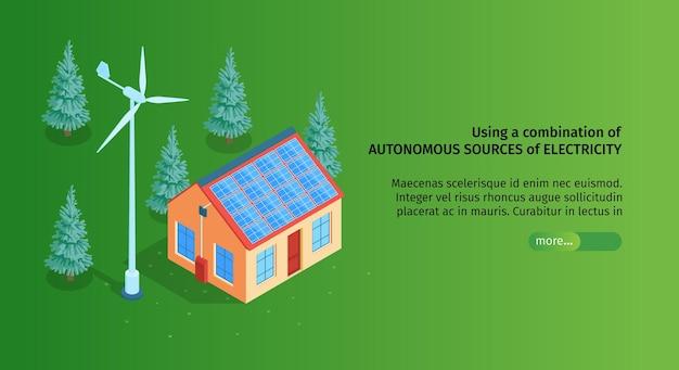 Horizontales banner der isometrischen grünen energie mit bearbeitbarem text des schiebereglers und bild des intelligenten hauses im wald