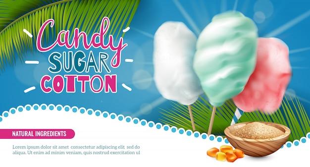 Horizontales banner der realistischen süßigkeitzuckerbaumwolle mit bearbeitbarem text und bildern der vektorillustration der süßigkeiten der palmblätter