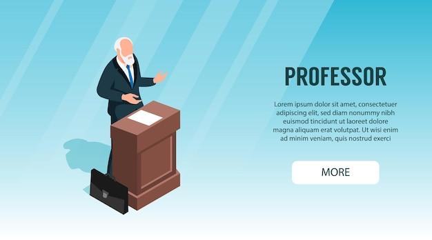 Horizontales banner der vorlesungsklasse des isometrischen professors mit charakter des oberlehrers, der an der tribüne mit text spricht