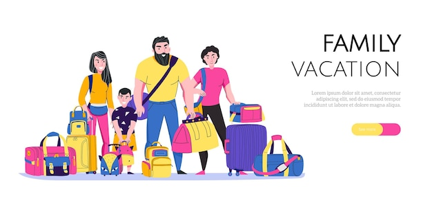Horizontales banner des familienurlaubs mit reisetaschenarten flach