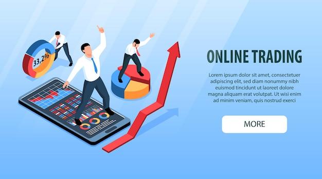 Horizontales banner des isometrischen börsenhandels mit konzeptuellen bildern von büroangestellten mit illustration von infografikobjekten