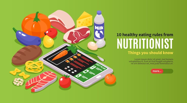 Horizontales banner des isometrischen ernährungsberaters