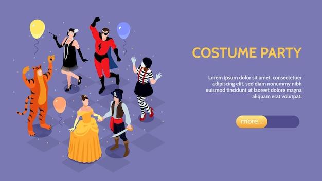 Horizontales banner des isometrischen festlichen maskerade-karnevals mit den zeichen der parteileute in den kostümen