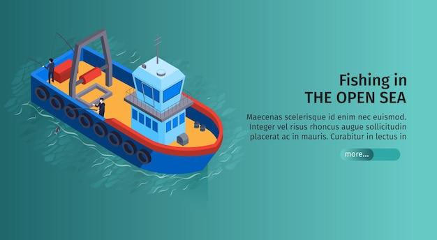 Horizontales banner des isometrischen wassertransports mit bearbeitbarem text und bild des fischerboots im offenen meer