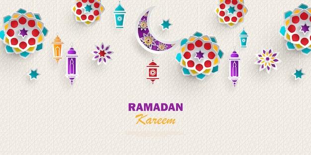 Horizontales banner des ramadan kareem-konzepts mit islamischen geometrischen mustern. papierschnittblumen, traditionelle laternen, mond und sterne.