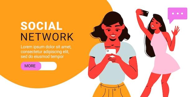 Horizontales banner des sozialen netzwerks mit weiblichen charakteren, die smartphones halten