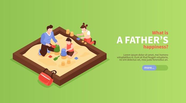 Horizontales banner des väterglücks mit vater und kindern, die im isometrischen sandkasten spielen