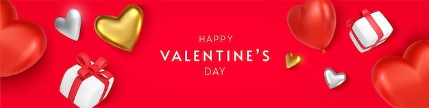 Horizontales banner des valentinstags mit herz und geschenk auf rotem hintergrund