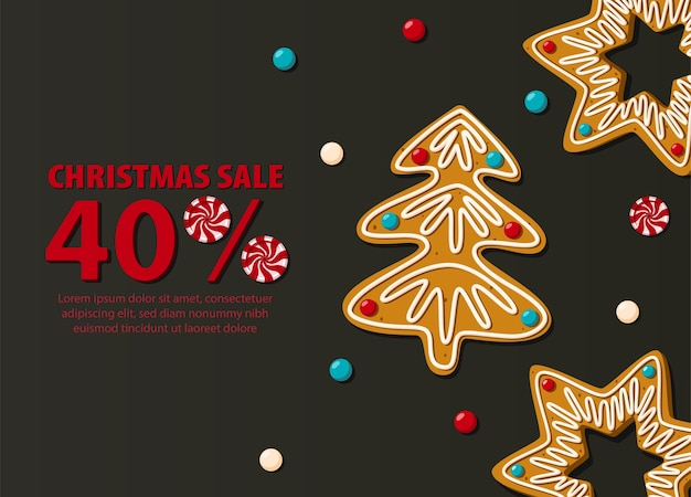 Horizontales banner des weihnachtsverkaufs auf schwarzem hintergrund mit lebkuchenplätzchen.