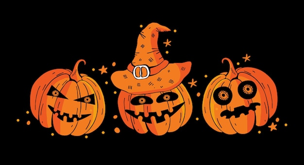 Horizontales banner fröhliches halloween mit unheimlichen kürbissen auf einem schwarzen hintergrund. bunte karikaturvektorillustration des feiertags.
