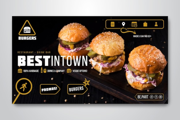 Horizontales banner für burger restaurant