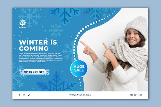 Horizontales banner für den winterverkauf