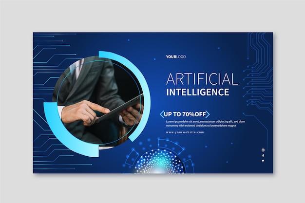 Horizontales banner für die wissenschaft der künstlichen intelligenz