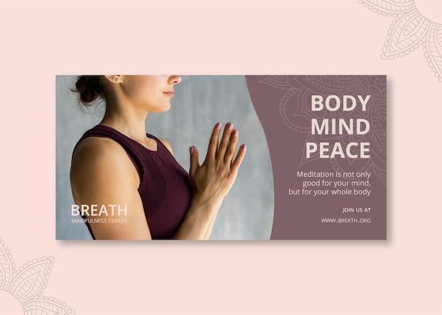 Horizontales banner für meditation und achtsamkeit