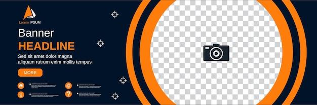 Horizontales banner im abstrakten geometrischen stil, social-media-cover, broschüre, coupon-vektor-design-vorlage