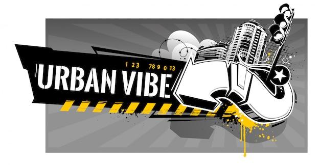 Horizontales banner mit abstrakten graffiti-elementen: pfeile, spritzer, stacheldraht, farbspritzer, sterne