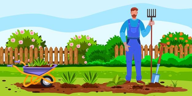 Horizontales banner mit frühlingshinterhof, gartenbett, blumen, sämlingen, schubkarre und landwirt.