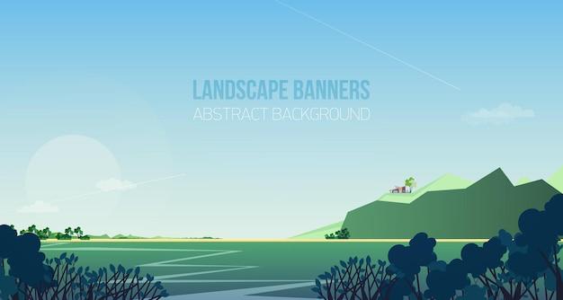 Horizontales banner mit herrlicher flusslandschaft oder -landschaft