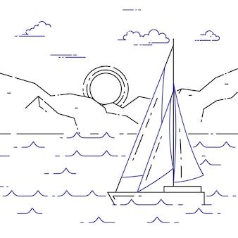 Horizontales banner mit segelboot unterwegs