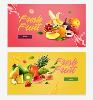 Horizontales banner mit zwei horizontalen, realistischen früchten, überschrift für frische früchte und mehr schaltfläche