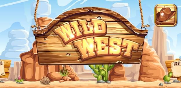 Horizontales banner und symbol für das spiel wild west zur registrierung in sozialen netzwerken