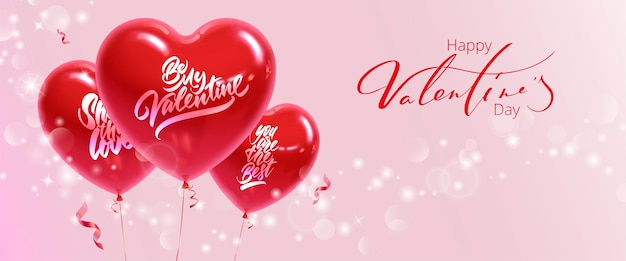Horizontales banner zum valentinstag. realistische herzförmige luftballons mit inschriften auf einem rosa hintergrund.