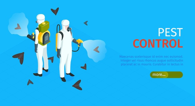 Horizontales banner zur schädlingsbekämpfung mit insektenvernichtern im chemikalienschutz