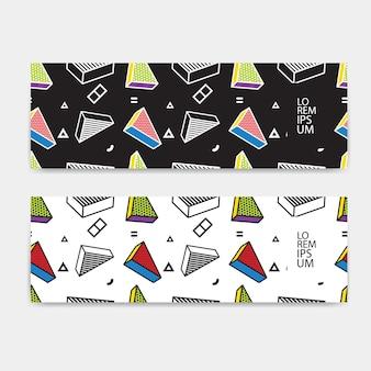 Horizontales bannerset, horizontale ausrichtung, buntes muster der schablone mit 3d-grafiken im pop-art-stil.