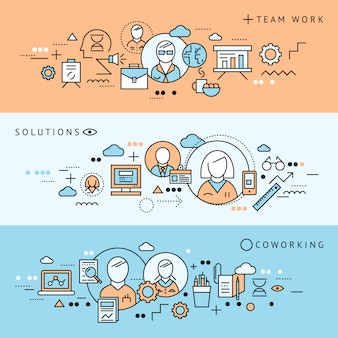 Horizontales coworking-banner mit drei farbigen linien, das mit der vektorillustration der teamarbeitslösungsbeschreibungen beschriftet wird