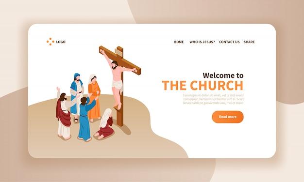 Horizontales fahnenlandungsseiten-websitedesign der isometrischen bibelerzählungen mit text christus kreuzigte und gebetscharaktere