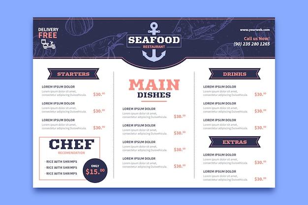 Horizontales format des digitalen restaurantmenüs