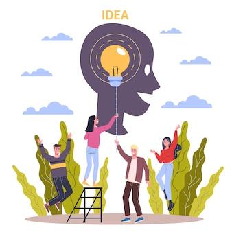 Horizontales innovationsbanner für ihre website. idee einer kreativen lösung und einer modernen erfindung. geschäftsinspiration. illustration