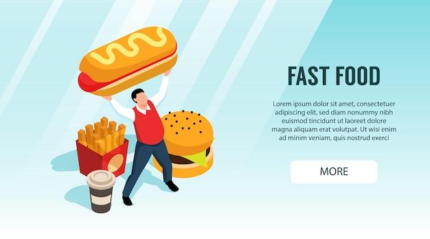 Horizontales isometrisches straßenlebensmittelbanner mit knopf und bildern von fast-food-produkten