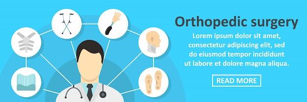 Horizontales konzept der fahnenschablone der orthopädischen chirurgie
