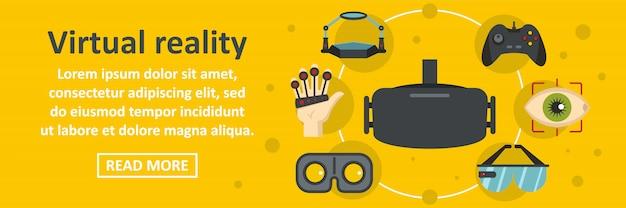 Horizontales konzept der fahnenschablone der virtuellen realität
