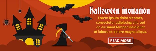Horizontales konzept der halloween-einladungsfahne