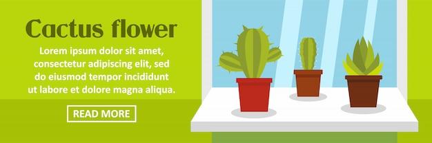 Horizontales konzept der kaktusblumen-fahnenschablone