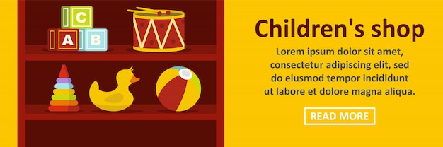 Horizontales konzept der kindershop-fahnenschablone