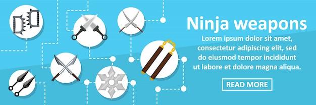 Horizontales konzept der ninja-waffenfahnen-schablone