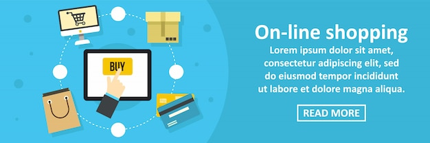 Horizontales konzept der on-line-einkaufsfahnenschablone
