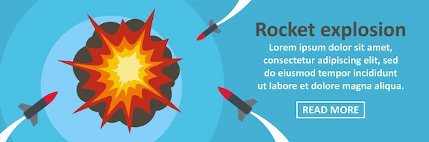 Horizontales konzept der raketenexplosionsfahnen-schablone