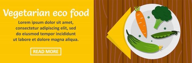 Horizontales konzept der vegetarischen eco lebensmittel-fahne