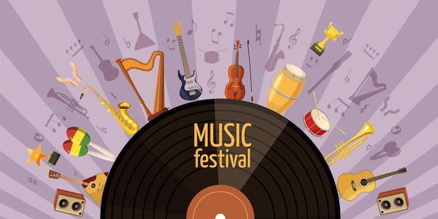 Horizontales konzept des musikfestivals. karikaturillustration der musikfestivalfahne horizontal