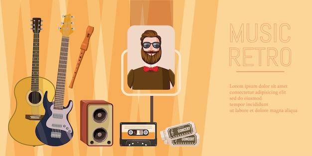 Horizontales konzept des musikkonzerts. karikaturillustration der musikkonzertfahne horizontal