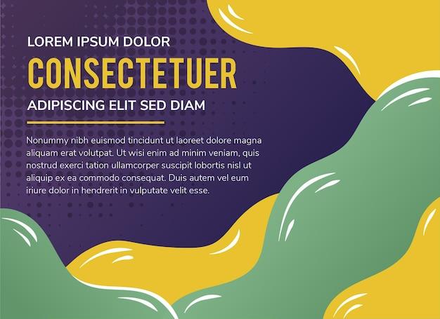Horizontales layout des abstrakten modernen hintergrunds mit papierschnittwellen lila farbverlauf mit grün